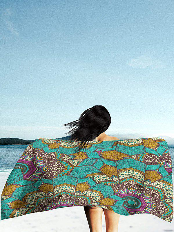 Mandala Print Rectangle Milk Silk Fabric Beach Throw - GREEN L
