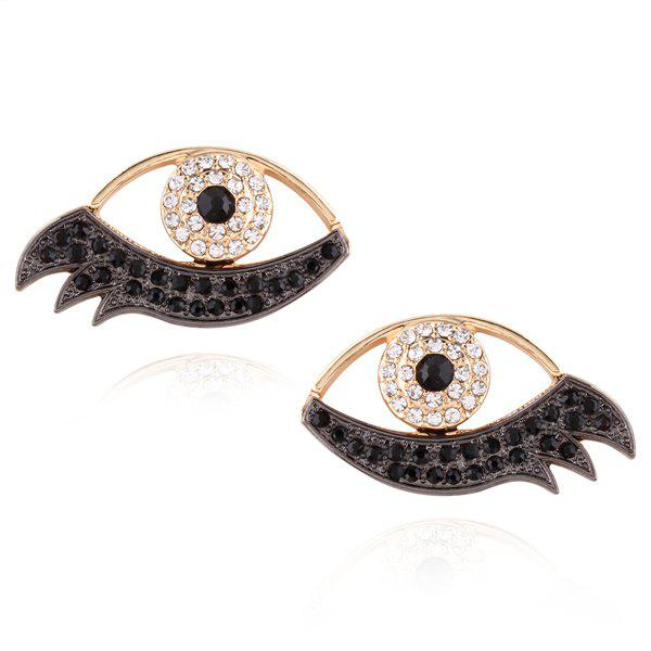 Alloy Rhinestoned Devil Eye Earrings - WHITE