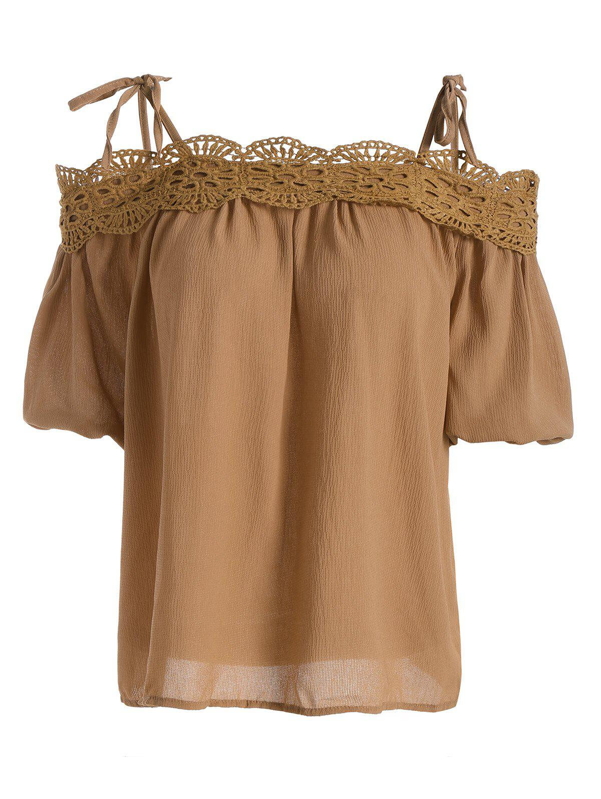 Spaghetti Strap Lace Crochet Chiffon Top - DARK KHAKI ONE SIZE(FIT SIZE XS TO M)