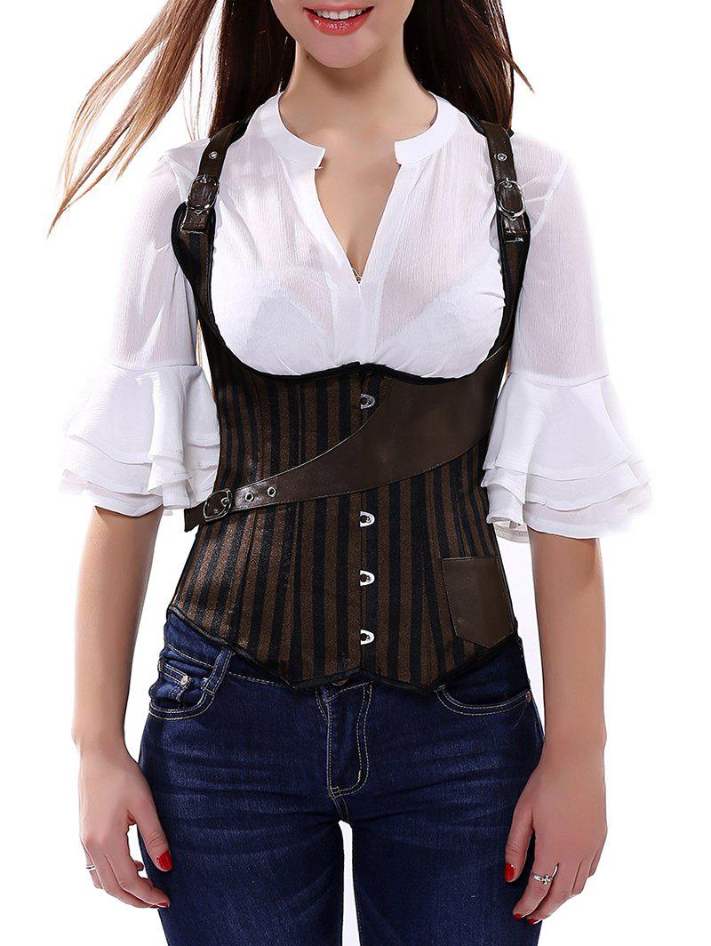 Belted Embellished Stripe Cupless Corset Vest cupless buckle rivet leather corset