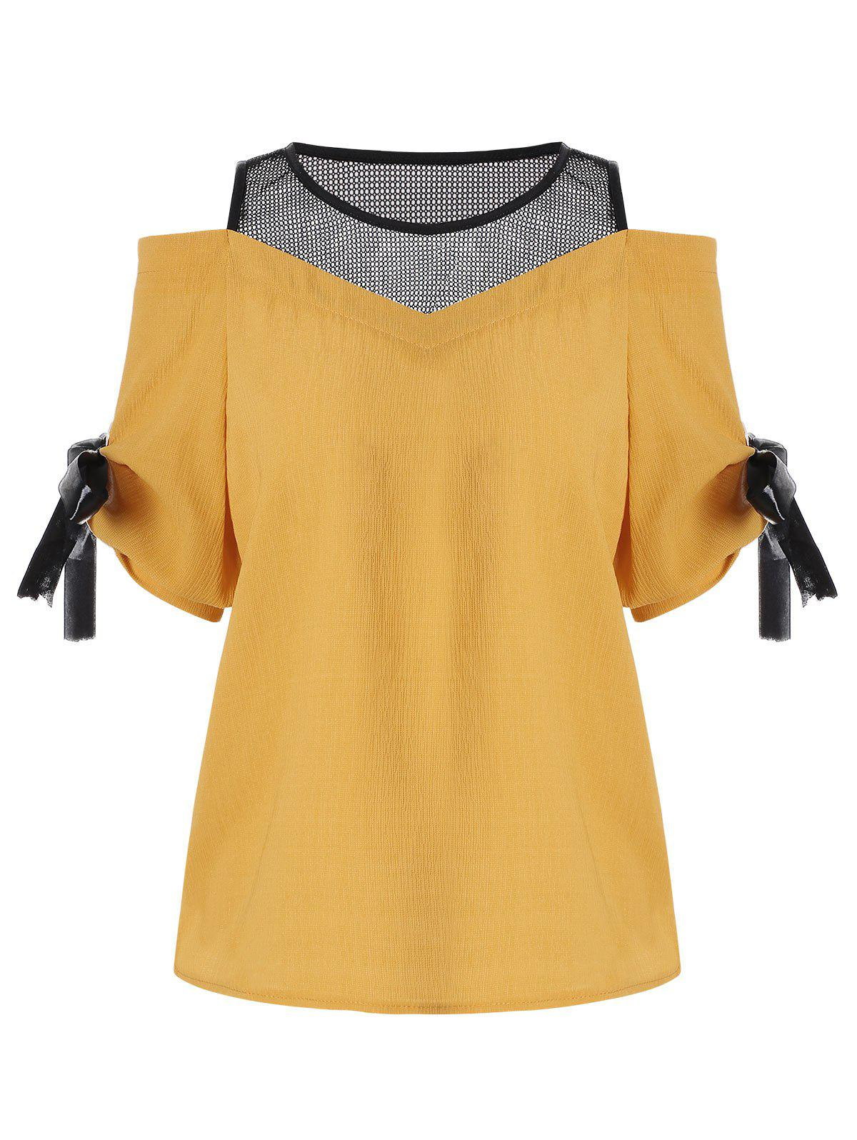 Cold Shoulder Mesh Insert Chiffon Blouse - GINGER ONE SIZE(FIT SIZE XS TO M)