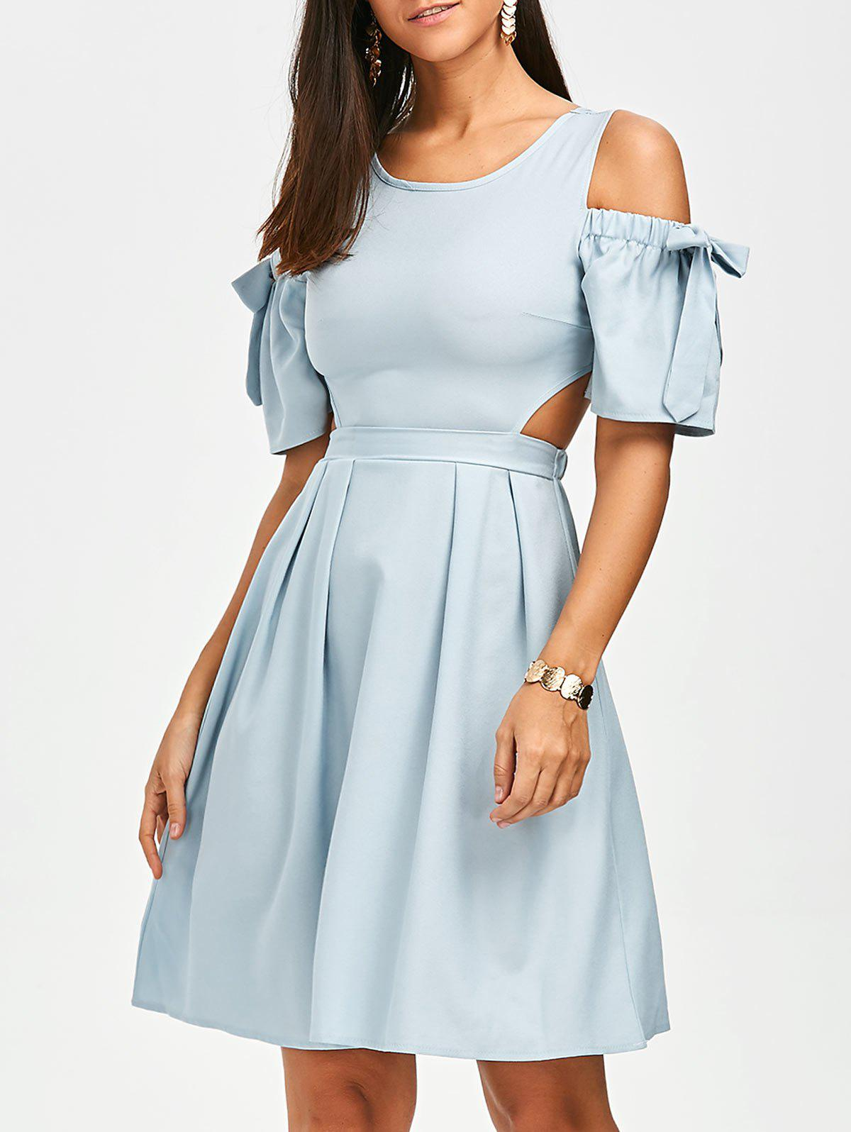 Bowknot Cold Shoulder Cut Out Dress - Bleu L