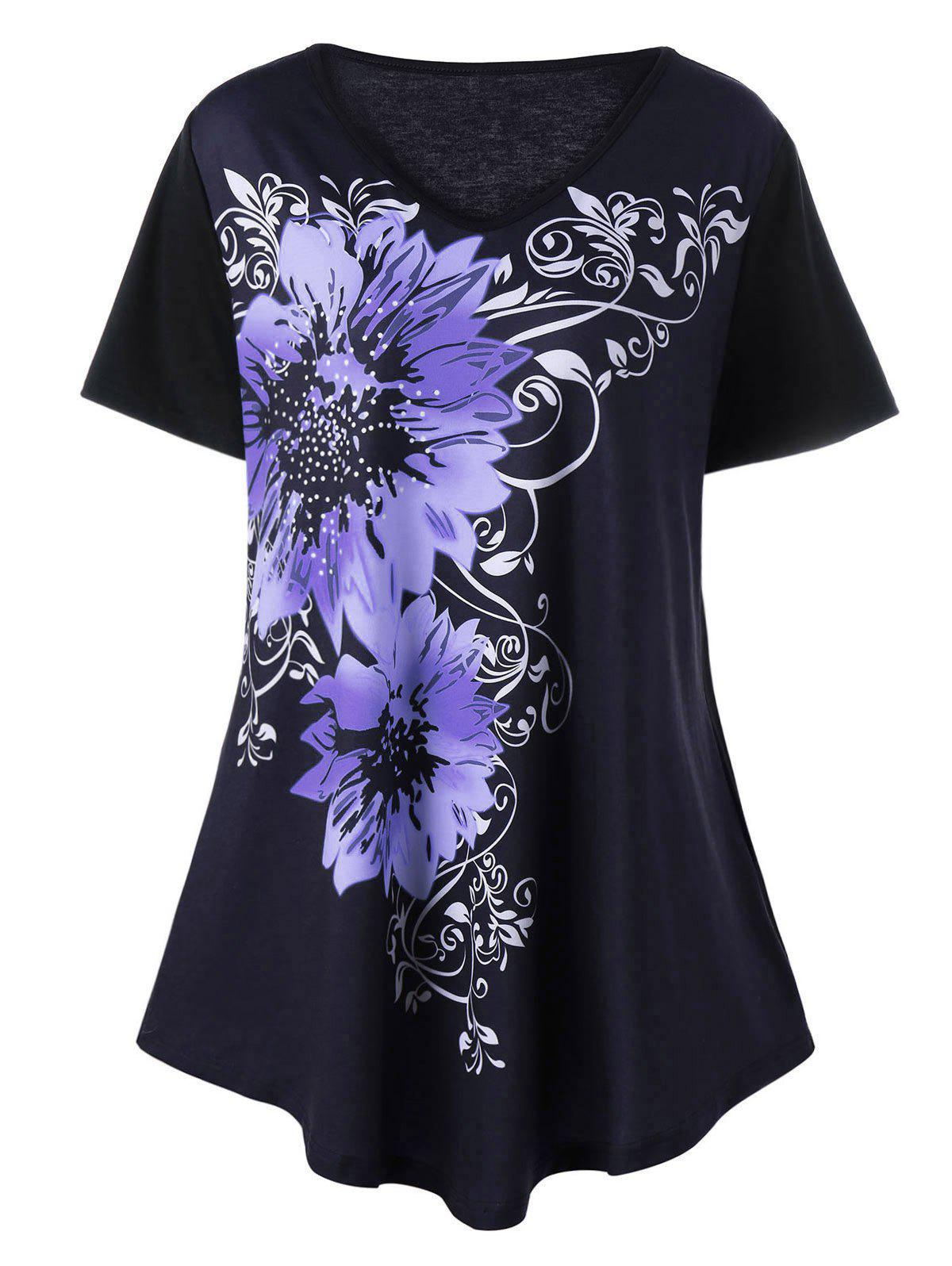2018 plus size floral graphic v neck t shirt purple xl in for T shirt graphics for sale