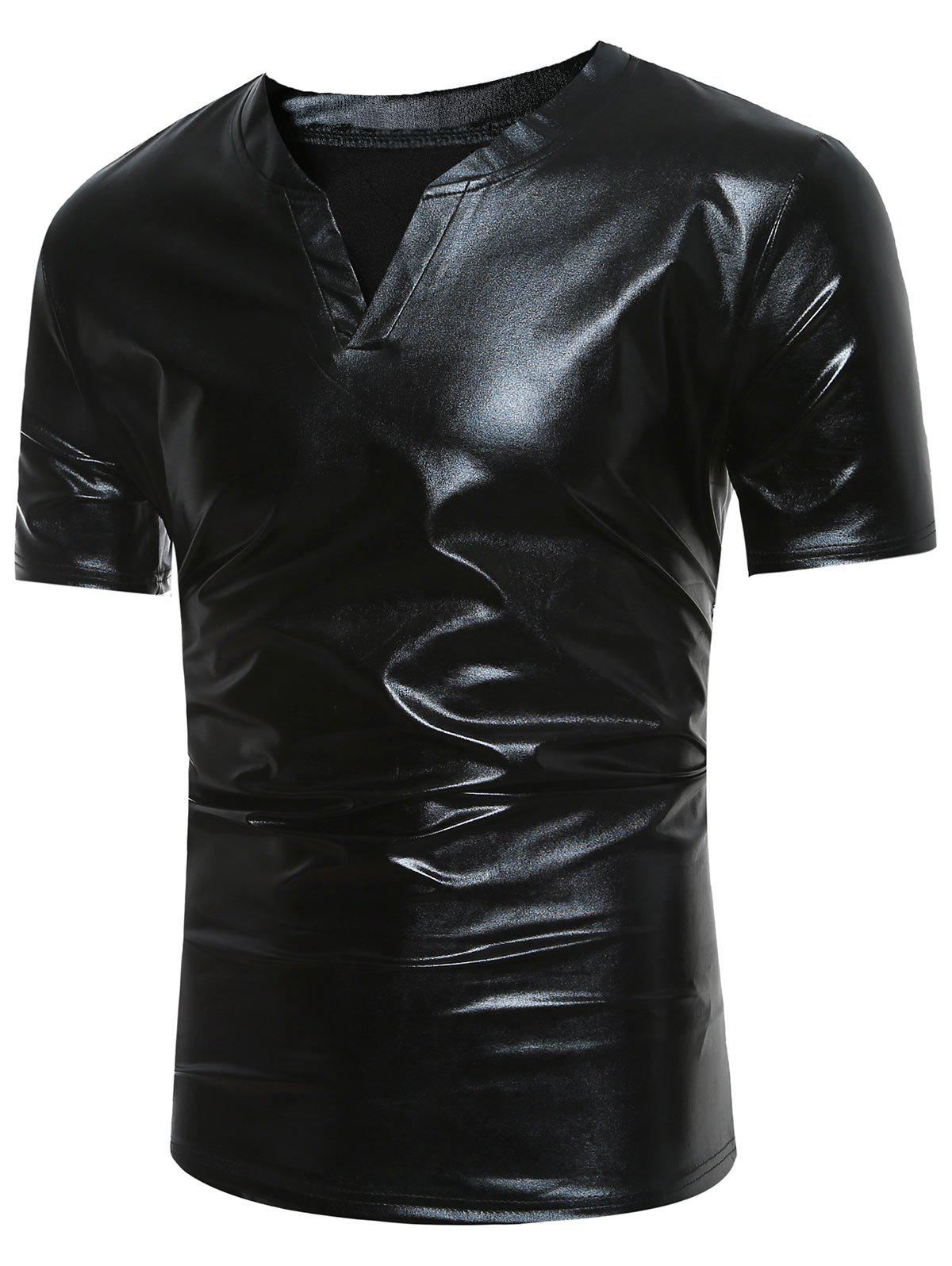 Notch Neck Short Sleeve Metallic Tee - BLACK M