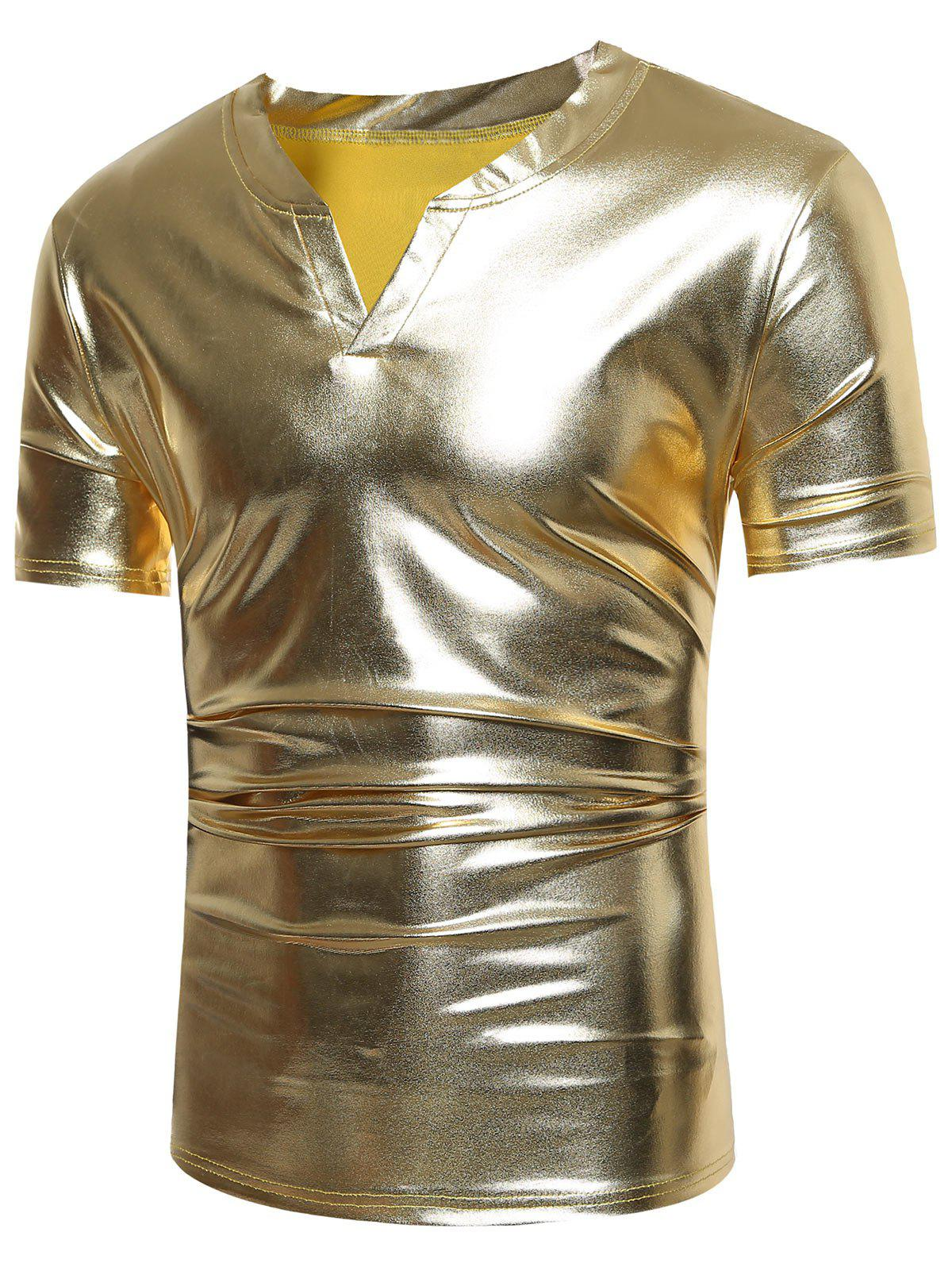 Notch Neck Short Sleeve Metallic Tee - GOLDEN M