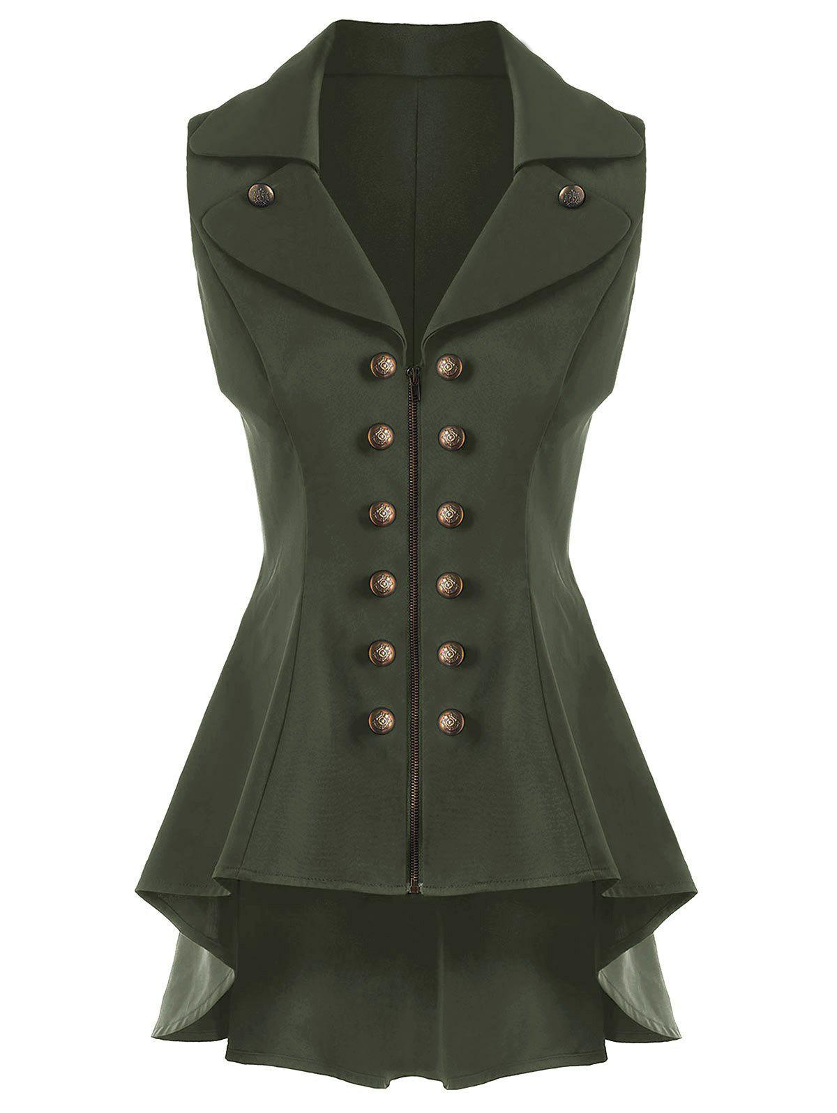 Double Breast Lapel High Low Dressy Waistcoat - ARMY GREEN 2XL