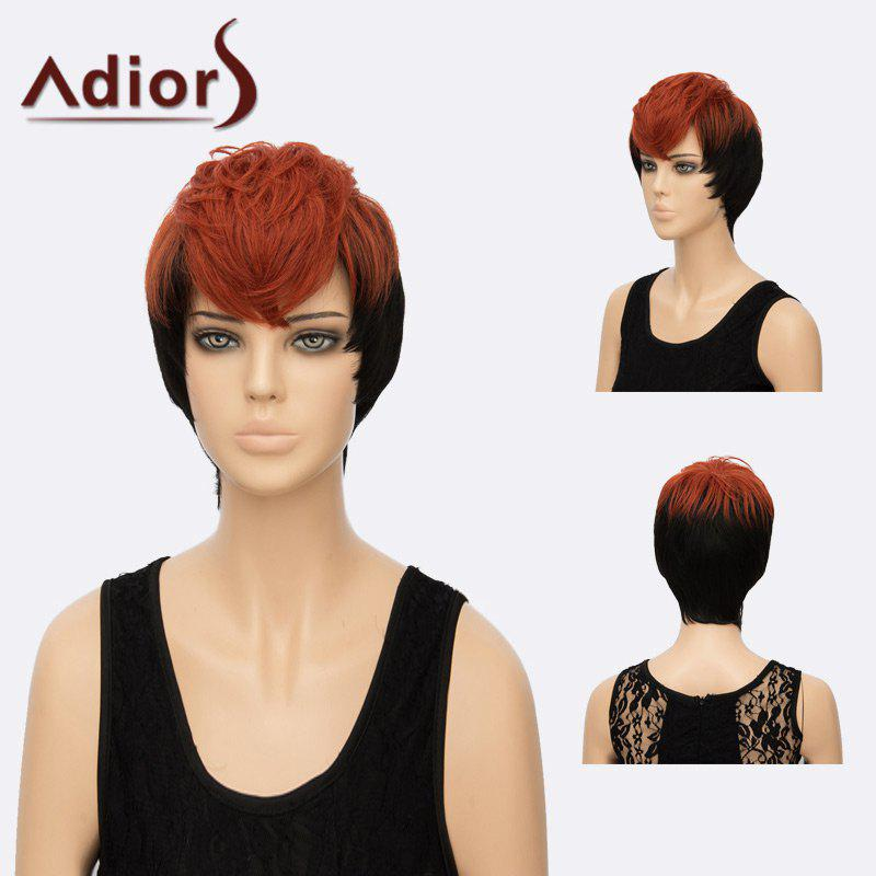 Adiors Short Straight Layered Side Bang Two Tone Synthetic Hair - RED/BLACK