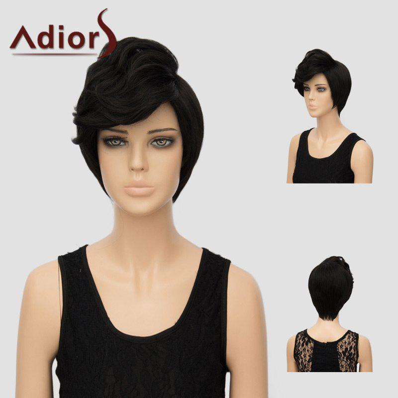Adiors Short Slightly Curled Thick Side Bang Synthetic Hair adiors layered slightly curled side bang short synthetic hair