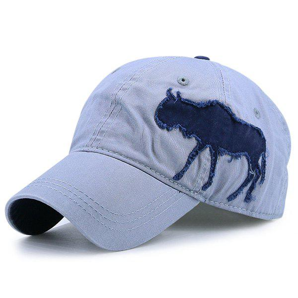 Denim Gnu Shape Patchwork Baseball Hat - STONE BLUE