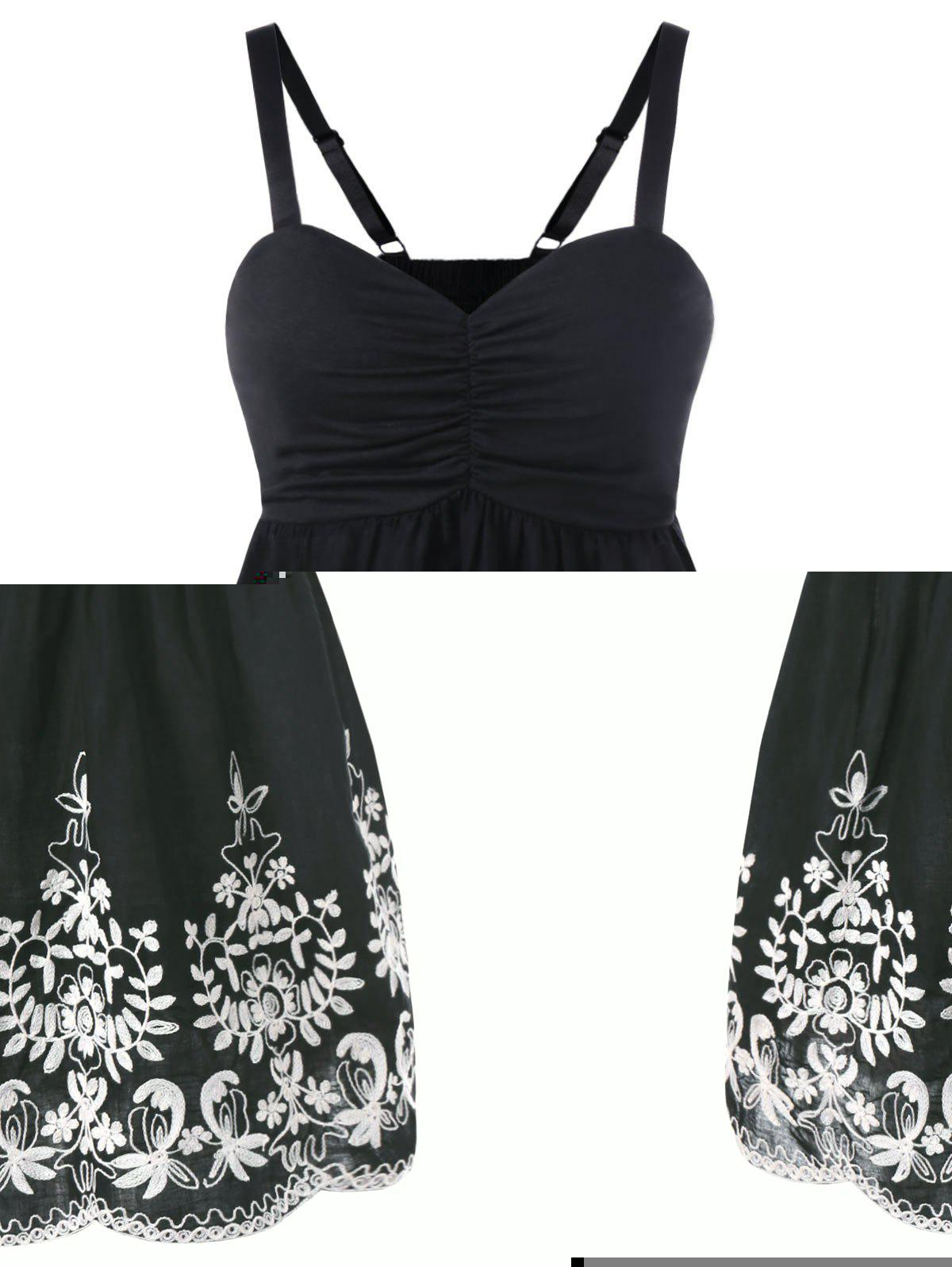 Plus Size Empire Waist Embroidery Tank Top - BLACK XL
