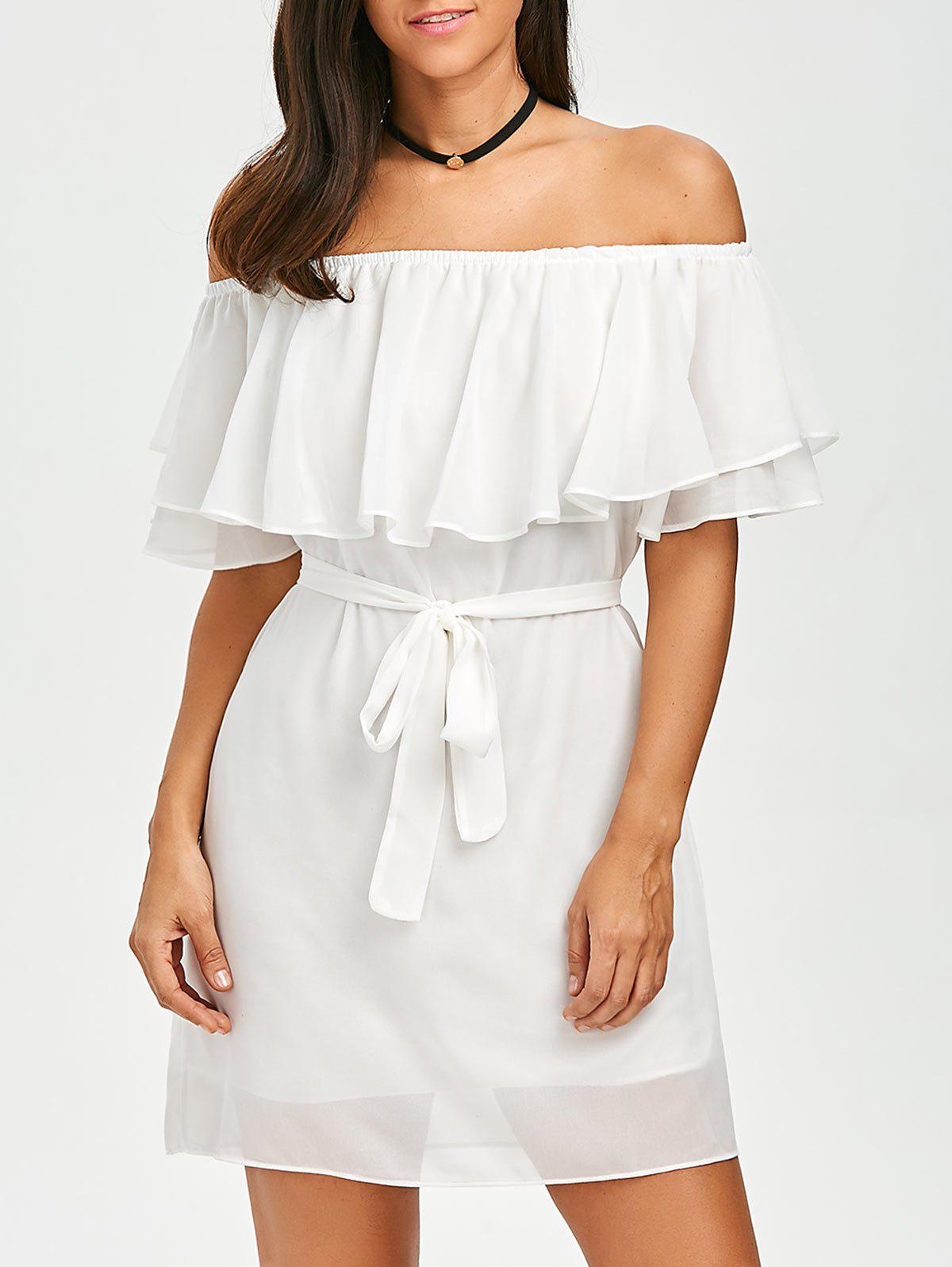 Flounce Off The Shoulder Belted Dress - Blanc S