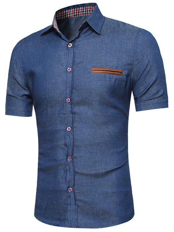 PU Panel Chambray Shirt - DEEP BLUE L