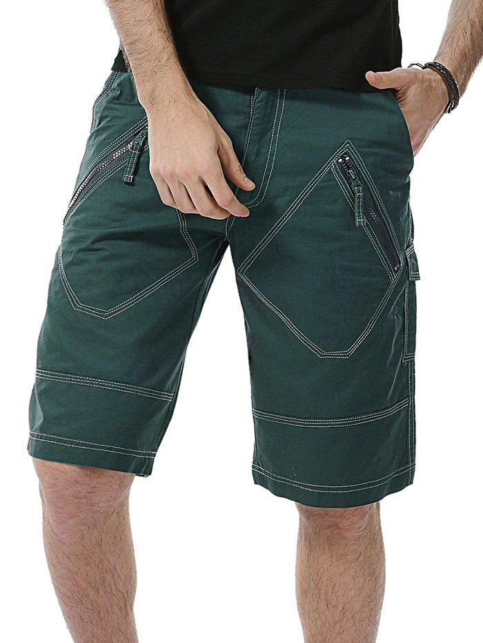 Multi Pockets Zip Fly Bermuda Shorts - Vert Foncé 38
