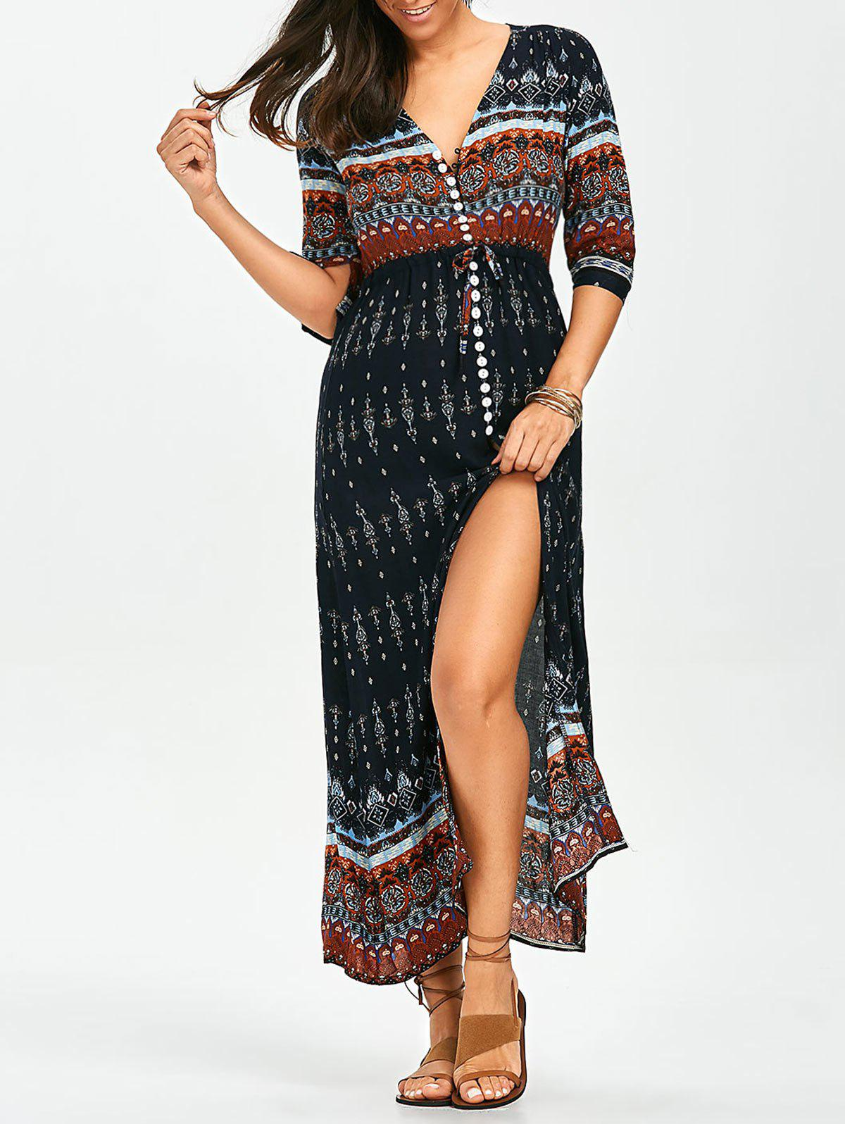 Bohemian Tribal Print Split Button Up Dress - COLORMIX M