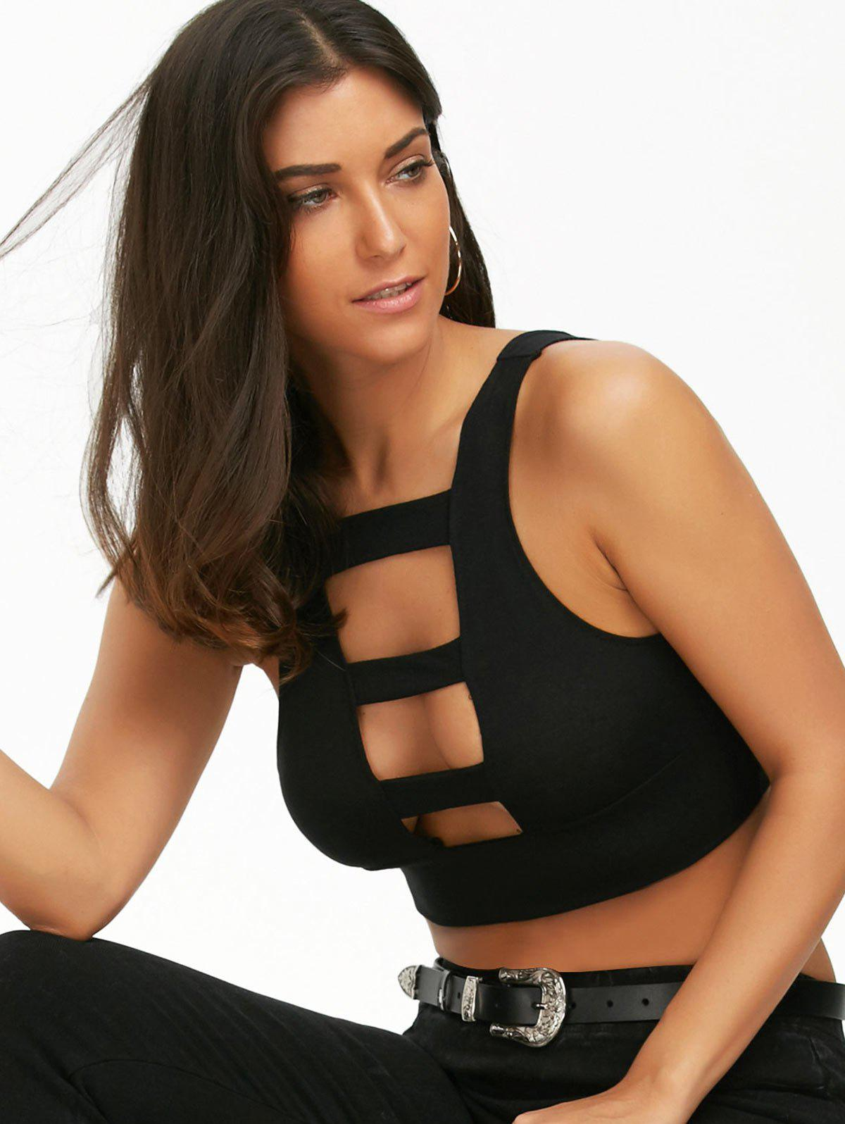 Ladder Cut Out Crop Top - BLACK L