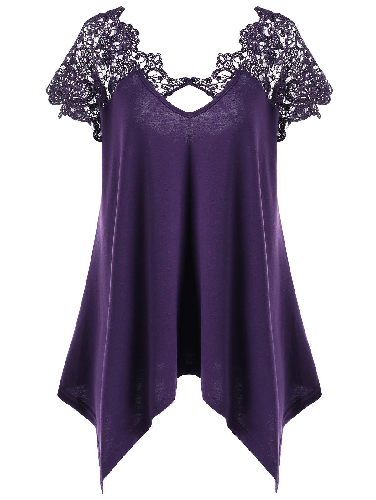 Plus Size Asymmetric Lace Trim T-Shirt - DEEP PURPLE 4XL