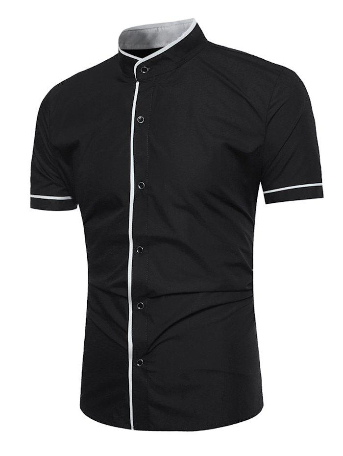 Grandad Collar Two Tone Shirt - Noir M