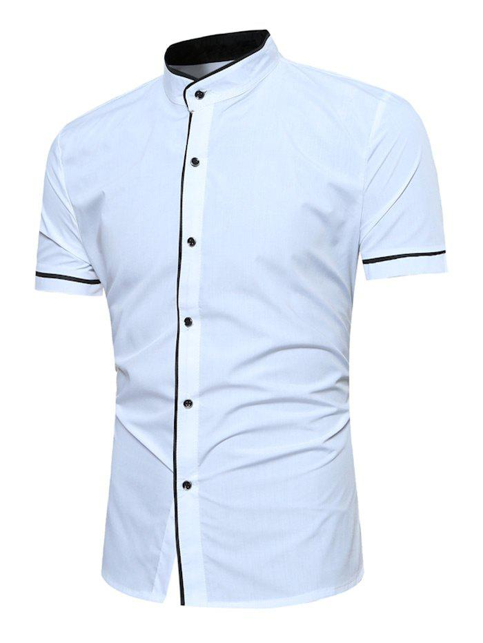 Grandad Collar Two Tone Shirt - WHITE M