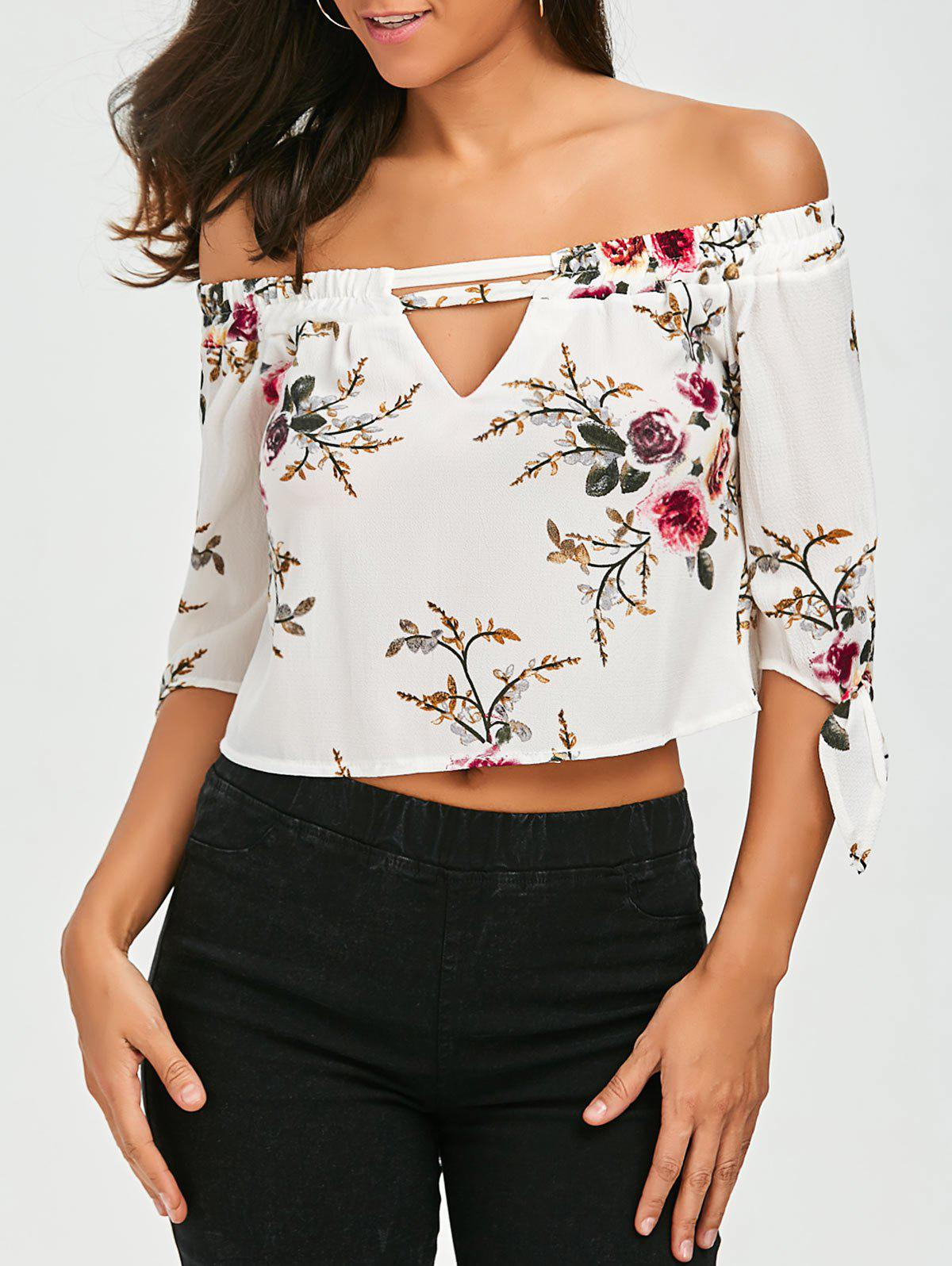 Cut Out Floral Printed Blouse - WHITE XL
