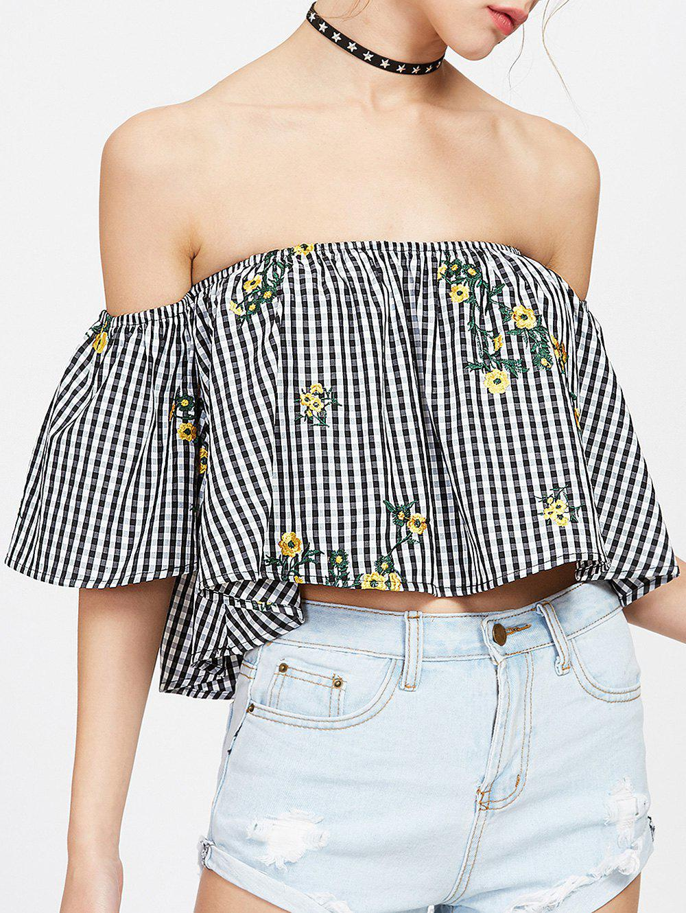 Off The Shoulder Plaid Embroidered Blouse - BLACK WHITE XL