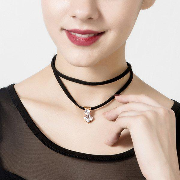 Forks Diamond Layered Choker - Noir