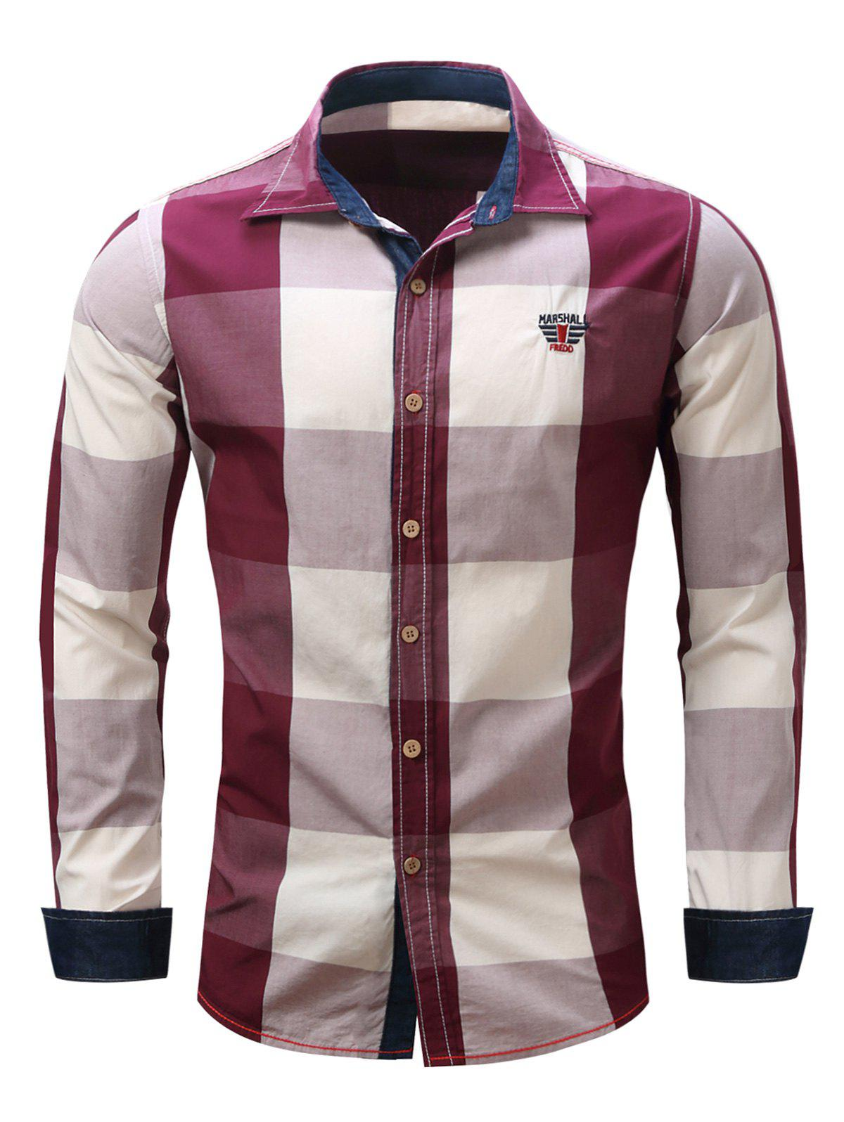 Men's Turn-Down Collar Plaid Pattern Long Sleeve Shirt - RED XL