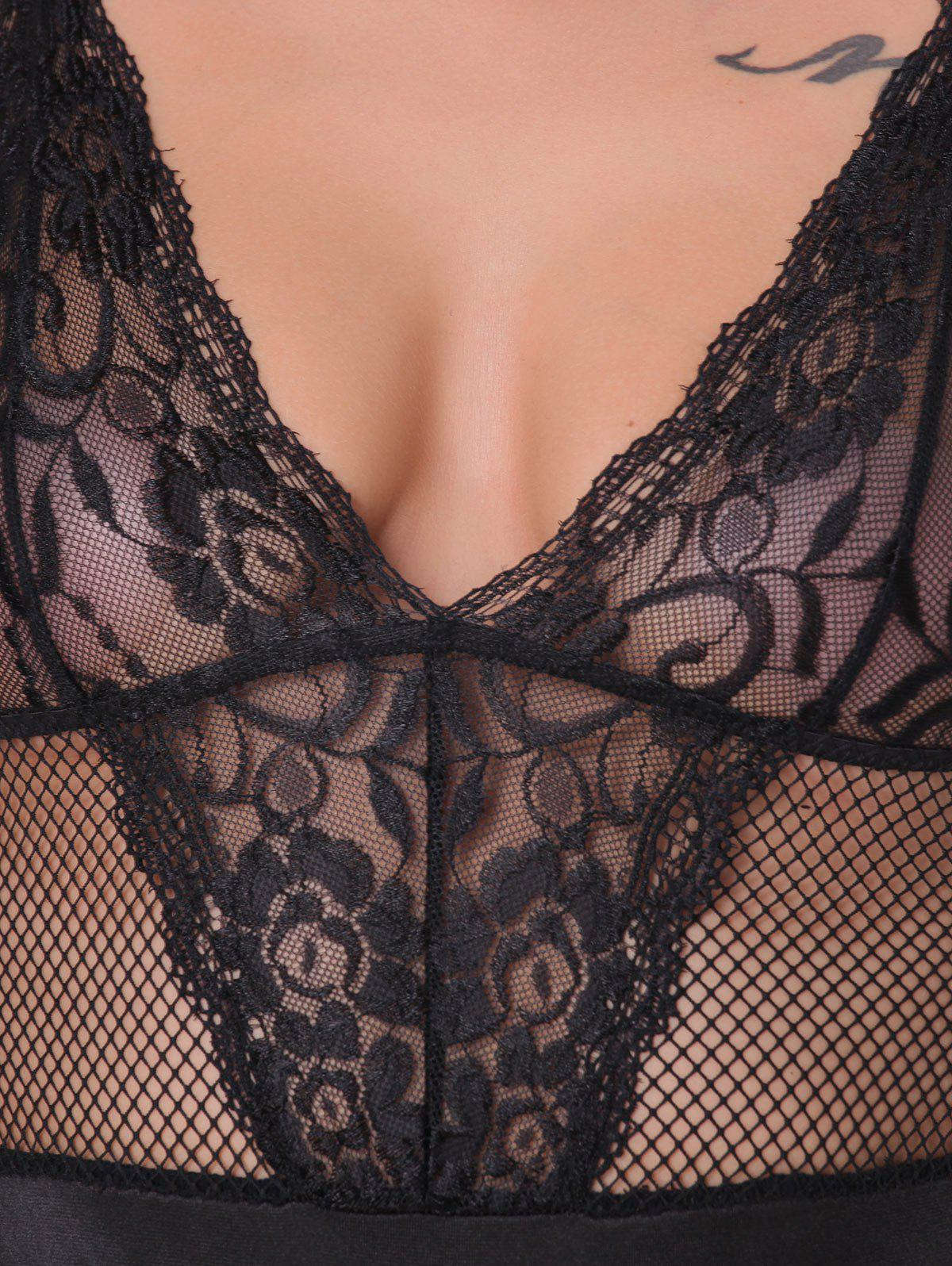 Fishnet Backless See-Through Teddy - BLACK S