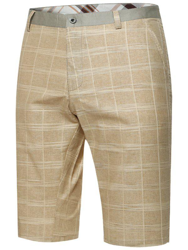 Zipper Fly Plaid Bermuda Shorts - KHAKI 33