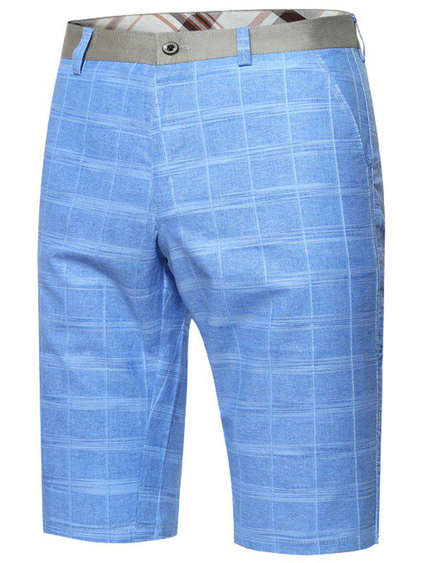 Zipper Fly Plaid Bermuda Shorts - Azur 32