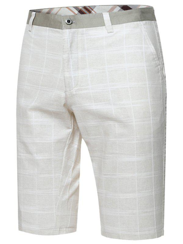 Zipper Fly Plaid Bermuda Shorts - Blanc Cassé 33