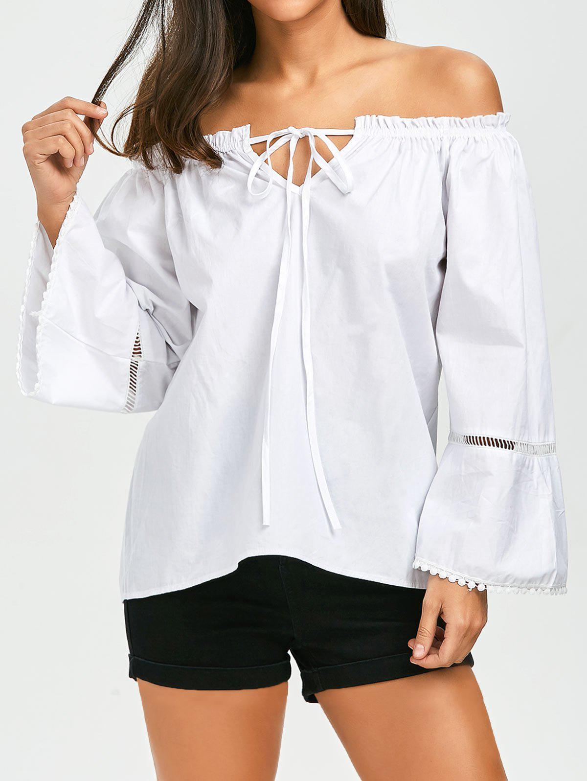 Full Sleeve Off The Shoulder Top - WHITE XL