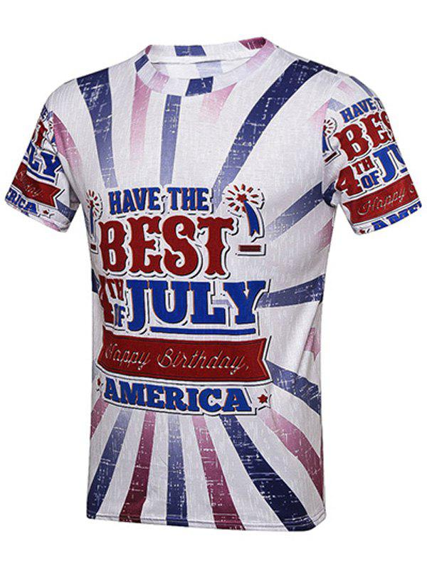 Fourth Of July Graphic Printed T-Shirt - COLORMIX 2XL