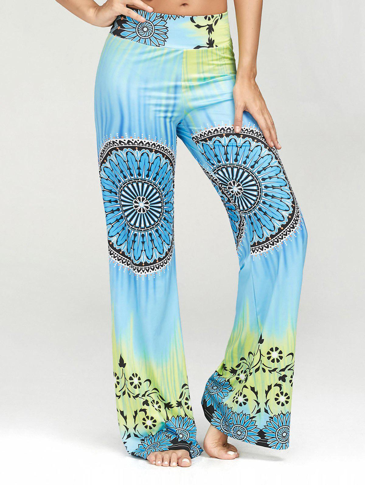 High Waisted Ethnic Print Palazzo Pants - multicolor XL