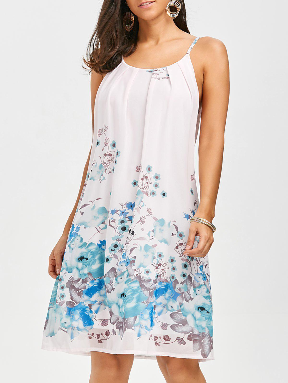 Floral Chiffon Mini Slip Dress - FLORAL M