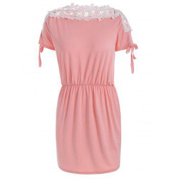 Lace Trim Boat Neck Mini Day Dress