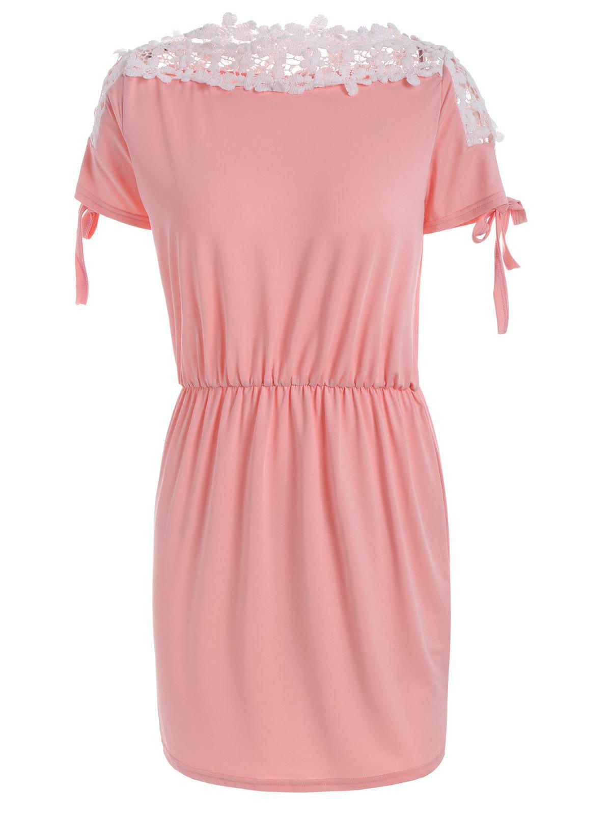 Lace Trim Boat Neck Mini Day Dress - ORANGEPINK S