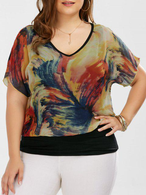 0eb4cfb3b 41% OFF] 2019 Plus Size V Neck Tie Dye Ringer Blouse In COLORMIX XL ...