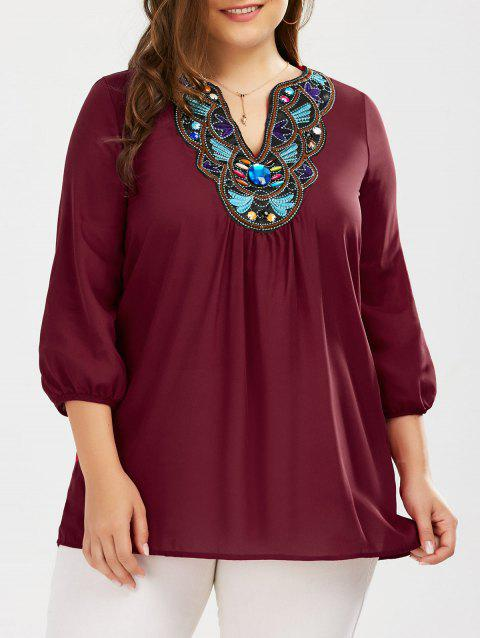 Plus Size Embroidered Rhinestone Tunic Blouse - WINE RED 2XL