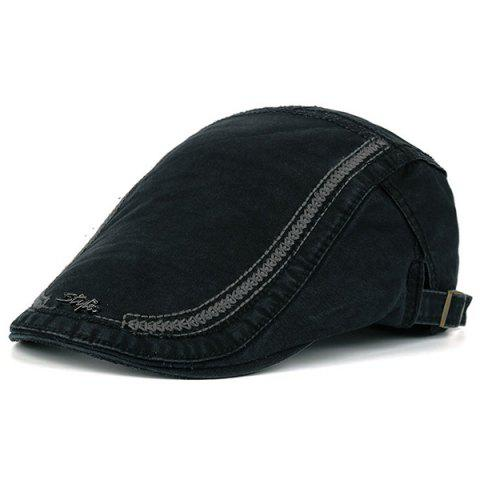 Stripe Embroidery Metallic Letters Embellished Newsboy Hat - BLACK