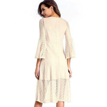 Surplice Lace Swing A Line Dress - NUDE NUDE