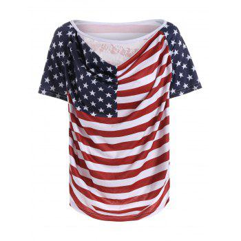 Lace Panel American Flag Print T-Shirt