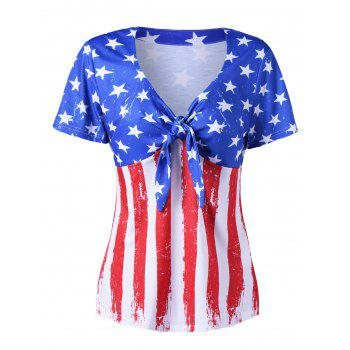 V Neck Empire Waist Distressed American Flag T-Shirt