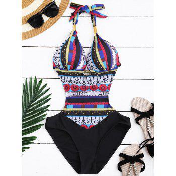Sexy Halter Hollow Out Printed Spliced One-Piece Women's Swimwear - BLACK AND WHITE AND RED L