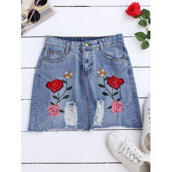 A Line Rose Embroideried Ripped Jean Skirt