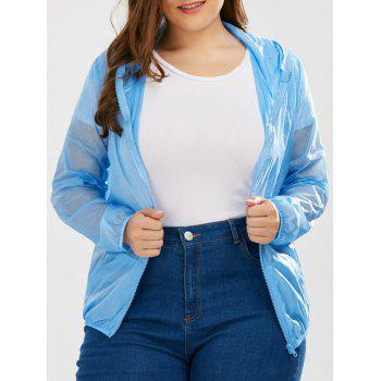 Plus Size Hooded Sun-Proof Jacket With Pocket