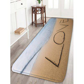 Love Sea Beach Print Skidproof Flannel Bathroom Rug