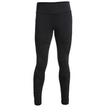 Mesh Panel Skinny Pleated Leggings