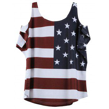 American Flag Print Cold Shoulder T-Shirt - WINE RED XL