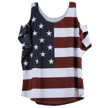Cold Shoulder drapeau à manches courtes Motif T-shirt