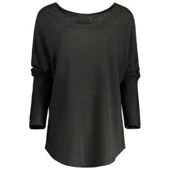 Women's Scoop Neck Asymmetrical Long Sleeve Sweater